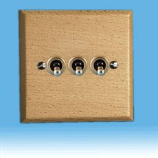 Varilight Kilnwood 3 Gang 1 or 2 Way 10A Dolly Toggle Switch Scandic Beech Finish XKT3BE